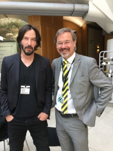 Ronnie Cowan MP with Keanue Reeves - 28th June 16